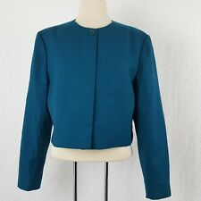 Pendleton Womens Blazer Jacket Virgin Wool Cropped Short Teal 70s Lined Size 18