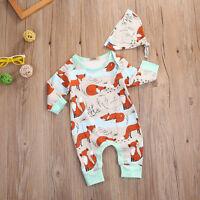 AU Newborn Baby Long Sleeve Clothes Fox Romper Jumpsuit Sunsuit Outfits 0-18M