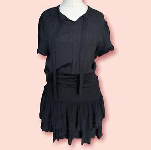 Maje Black  Ruffle Short Dress Size 10 UK