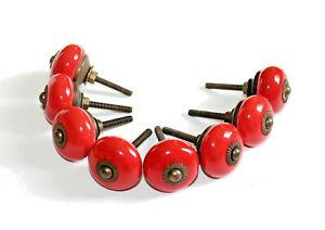 "8 Vintage Round RED Ceramic Porcelain & Brass Accents Cabinet Knobs 1 1/4"""