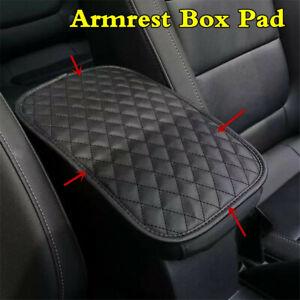 Universal Black Plaid Car Armrest Pad Cover Center Console Leather Cushion Mat