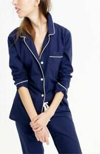 J Crew Vintage Cotton Pajama Top  Navy Blue White Piping Small 4-6