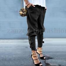 ZANZEA Women Baggy Military Plus Buckles Slouch Skinny Slim Trousers Long Pants