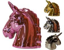 Spardose Einhorn Kopf Keramik glänzend Dekofigur Rosa Gold Silber Einhorn