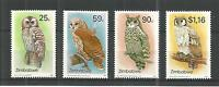 ZIMBABWE 1993 OWLS 2ND SERIES SG,850-853 UN/MM NH LOT 895A