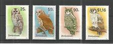 ZIMBABWE 1993 OWLS 2ND SERIES SG,850-853 UN/MM NH LOT 895A