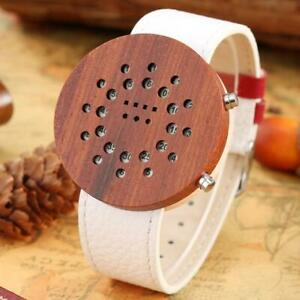 Creative Nature Wood LED Lights Electronic Wooden Watch for Men Leather Strap