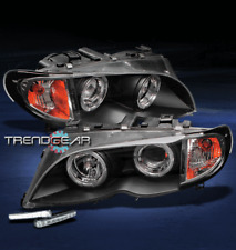 2002-2005 BMW E46 3 SERIES 4DR HALO BLACK PROJECTOR HEAD LIGHT+DRL SIGNAL CORNER