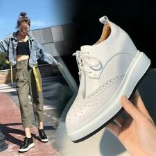 Womens Ladies New Fashion Leather Hidden Wedge Lace Up Brougue Court Shoes MOON