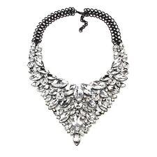 Luxus Statement Kette,Collier, Blogger, XL Anhänger, schwarz/kristallklar, NEU
