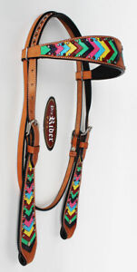 Horse Show Saddle Tack Rodeo Bridle Western Leather Headstall Equine 78160H