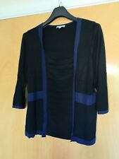 Ladies PER UNA Top Size 18 Black Blue Tandem Top Cardigan In One
