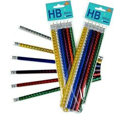 6 x SHINY LASER HB PENCILS ~ RED GOLD SILVER  PARTY BAGS SCHOOLS, CHRISTMAS GIFT