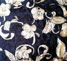 "ℳ Stretch Panne Printed Velvet Black with Gold Floral Design 58"" By Thr Yard"