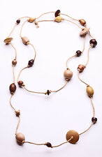 RUSTIC BROWN COOL ROPE LONG NECKLACE 3 TONE ROUND/OVAL/SAUCER BEADS (ZX33)