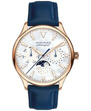 New Movado Heritage Celestograf Navy Leather Strap Women's 36mm Watch 3650011