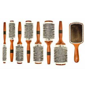 HeadJog Wooden Ceramic Radial RoundBarrel + Paddle Brush 54 55 56 57 58 72 73 74