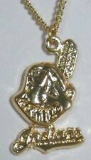 MLB Cleveland Indians Chief Wahoo 18 inch Necklace in Gold Plate Made in USA NEW
