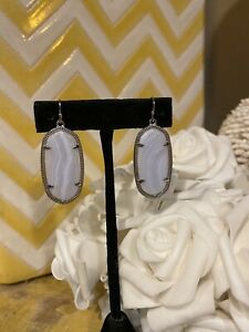 Kendra Scott Elle Earrings in Gray/White Banded Agate & Silver Rare  Excellent!!