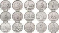 ✔ Russia 5 rubles the Capital city of the liberated States 14 Pcs 2016 UNC WWII