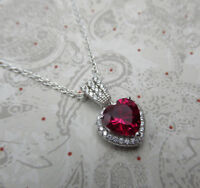 Red Garnet CZ Heart Pendant 925 Sterling Silver January Birthstone Necklace