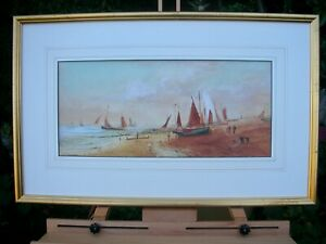 """VERY RARE PAINTING """"YACHTS SAILING FROM THE BEACH"""" F.E.JAMIESON,SIGNED c1918"""