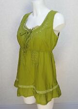 M&Co green cotton embellished floral embroidered Sleeveless Frill hem Blouse 12