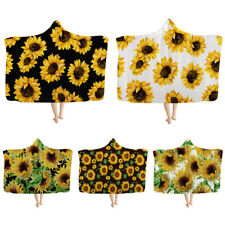 Sunflower Hooded Blankets for Women Gilrs Winter Warm Throw Sherpa Soft Blanket