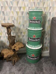 Metal Storage Bar Stool Set Of 3 Heineken Beer Green Color Retro Vintage Look