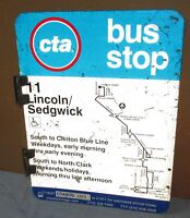 Vtg 2 Sided CTA Bus Stop 11 LINCOLN/SEDGWICK Chicago Aluminum Sign 24 x 18 S652