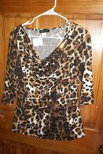 NWT MANDY EVANS 3/4 sleeve leopard Draped Neck top sz Medium