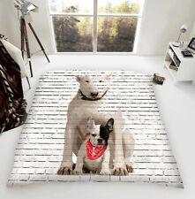 Englischer Bullterrier & Französisch Pal Luxus Fleece Tagesdecke Hund