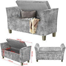 CRUSHED VELVET WINDOW SEAT OTTOMAN STORAGE BOX FOOTSTOOL BENCH BEDROOM FRUNITURE