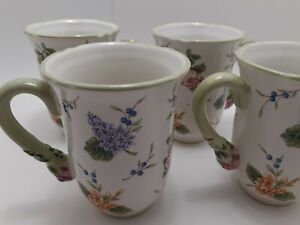 Princess House Vintage Garden Set of Four Scalloped Mugs Pretty Floral