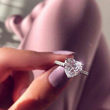 Fashion Crystal Glamour Heart Shaped Women's Zircon Engagement Wedding Rings