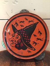 VINTAGE Halloween Tin Noisemaker - WITCH TAMBOURINE NOISEMAKER 7""