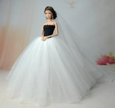 Handmade princesse mariage robe de soirée Vêtements robe voile pour Poupées Barbie Cadeau UK