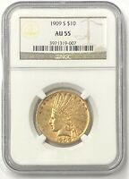 1909-S $10 Indian Head Pre-33 Gold Eagle NGC AU55 Nice Low Mintage Of 292,350