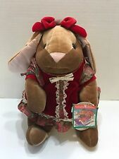 "Commonwealth Velveteen Rabbit Plush Bunny 14"" Stuffed Animal Girl 1985 Red NEW"
