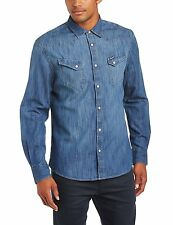Blu Medium Wrangler Maglietta Regular Fit Manica lunga Uomo (e (indigo)) M