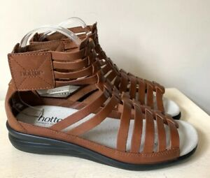 Hotter Ladies Sandals 5 EXF Gladiator Leather Livia Tan Summer Casual New