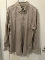 LL Bean L Regular Wrinkle Resistant Cotton Shirt Button Collar Tan Grid Check