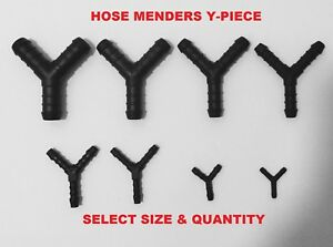 Tube Connector Pipe Repair Hose Mender Y-PIECE  Air-Water-Fuel All Sizes 3-16mm