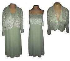 New 2-PC Suit: Dress & Bolero, R&M Richards, Green Lace Sequins MSRP-$129.00 16