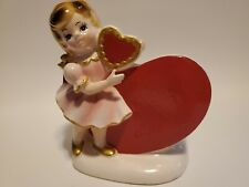 Vintage Valentine Girl Heart Planter Japan