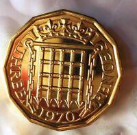 1970 GREAT BRITAIN 3 PENCE - Great PROOF Coin - FREE SHIP - Britain Bin PR