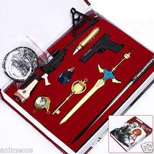 8pcs Sword Art Online SAO Gun Gale Online Keychain Pendant Necklace Weapons Set