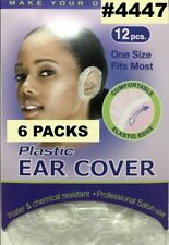 6 PACK PLASTIC EAR COVER WATER & CHEMICAL RESISTANT 12 PCS/PK ONE SIZE FIT MOST
