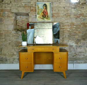 Vintage mid century HOMEWORTHY 1950s light oak dressing table drawers DELIVERY