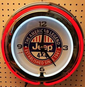 "15"" Jeep Sign Double Neon Clock The American Legend"